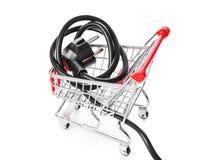 Elektrisch schließen Sie Einkaufswagen an stockbilder