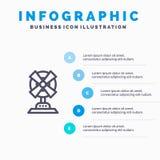 Elektrisch, Ventilator, Huis, Malplaatje 5 van Machine Blauw Infographics Stappen Het vectormalplaatje van het lijnpictogram royalty-vrije illustratie