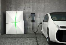 Elektrisch voertuig het laden post voor huis stock foto's