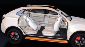 Elektrisch zelf-drijft SUV-auto binnenlands ontwerp stock illustratie