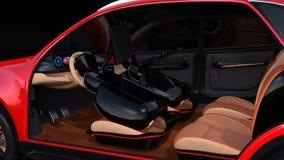 Elektrisch zelf-drijft SUV-auto binnenlands ontwerp vector illustratie