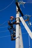 Elektrische Anstiege zum konkreten Pol lizenzfreies stockbild