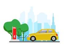 Elektrische auto die bij het bijtanken van krachtcentrale laden Moderne voertuigtechnologie Vector illustratie Stock Foto