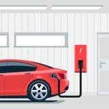 Elektrische Auto die thuis in Garage laden vector illustratie