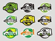 Elektrische Auto Eco Negen Geïsoleerd Pictogrammenontwerp Royalty-vrije Stock Afbeeldingen