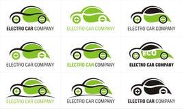Elektrische Auto Eco Negen Geïsoleerd Pictogrammenontwerp Stock Foto