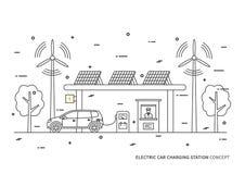 Elektrische auto het laden post vectorillustratie royalty-vrije illustratie