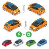 Elektrische auto met Zonnepanelen De auto van Eco Stock Afbeelding