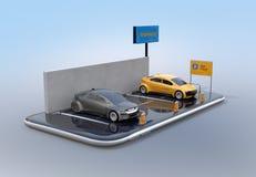 Elektrische auto's met auto die aanplakbord op smartphone delen stock illustratie