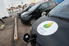 Elektrische auto's op klimaatconferentie Stock Foto