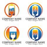 Elektrische Batterie-und Stecker-Konzept-Logo Lizenzfreies Stockfoto