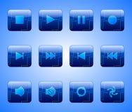 Elektrische blaue Unterhaltungs-Tasten Stockfotos