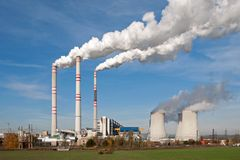 Elektrische centrale in Pocerady (Tsjechische Republiek) Royalty-vrije Stock Foto