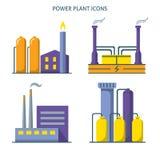 Elektrische centralepictogrammen in vlakke stijl worden geplaatst die Royalty-vrije Stock Afbeeldingen