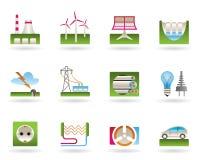 Elektrische centrales voor groene energie Stock Afbeeldingen