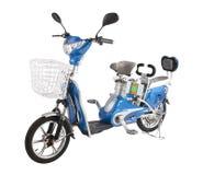 Elektrische die fiets op witte achtergrond wordt geïsoleerd Stock Afbeelding