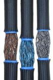 Elektrische Drähte im flexiblen Rohr Stockfotos
