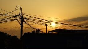Elektrische Drähte Sihanoukville, Kambodscha Stockfotografie