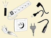 Elektrische draden en stoppen Stock Foto's
