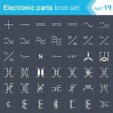Elektrische en elektronische pictogrammen, elektrische diagramsymbolen Huidige, in drie stadia verbindingen en elektrotransformat vector illustratie