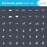 Elektrische en elektronische pictogrammen, elektrische diagramsymbolen Inductors, rollen, condensatoren en elektrische condensato royalty-vrije illustratie