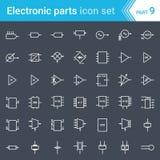 Elektrische en elektronische pictogrammen, elektrische diagramsymbolen Schakelschema, blokken, stadia, versterker, piezoelectric  royalty-vrije illustratie