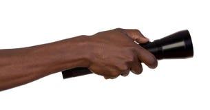 Elektrische Fackel in der Hand Stockfoto