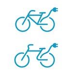 Elektrische fietspictogrammen Stock Foto