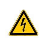 Elektrische Gefahrenhochspannungszeichen lokalisiert auf Weiß Stockfotografie