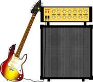 Elektrische gitaar en een gitaarversterker Royalty-vrije Stock Foto's