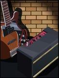 Elektrische gitaar en gitaarversterker Stock Fotografie