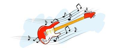 Elektrische gitaar met muzieknota's Stock Foto