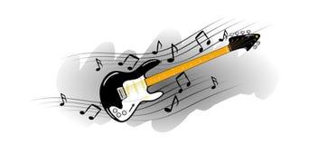 Elektrische gitaar met muzieknota's Royalty-vrije Stock Foto