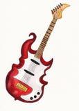 Elektrische gitaar op waterverfdocument Stock Foto's