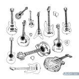 Elektrische gitaarhand getrokken krabbel, vectorillustratie Royalty-vrije Stock Foto