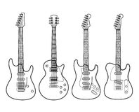 Elektrische gitaren die op wit worden geïsoleerde Stock Foto
