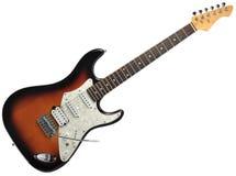 Elektrische Gitarre getrennt auf Weiß Stockfoto