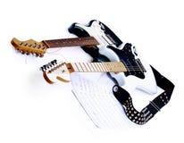 Elektrische Gitarren getrennt auf Weiß Lizenzfreie Stockbilder