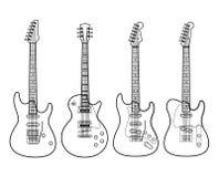Elektrische Gitarren getrennt auf Weiß Stockfoto