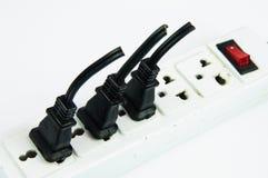 Elektrische hub sparen energieconcept met witte geïsoleerde achtergrond Stock Fotografie