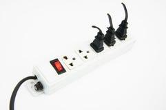 Elektrische hub sparen energieconcept met witte geïsoleerde achtergrond Stock Foto