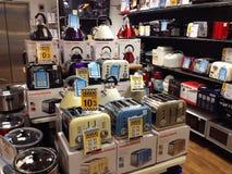Elektrische inländische Einzelteile, Toaster und Kessel Lizenzfreie Stockfotografie