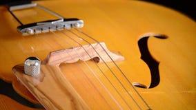 Elektrische Jazz Guitar Rotating, detail van bestelwagen, koorden, lijstwerken en efes stock footage