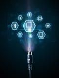 Elektrische kabel met de pictogrammen van verschillende media Royalty-vrije Stock Foto's