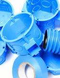 Elektrische Komponenten für Gebrauch in den elektrischen Installationen Stockbild