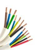 Elektrische koperkabel Stock Foto's