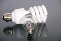 Elektrische lamp en lichtende lamp Stock Afbeelding
