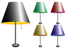 Elektrische Lampen mit Lampenschirm Stockbild