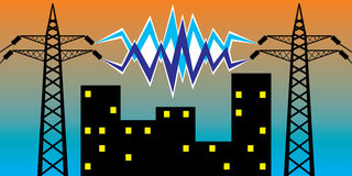 Elektrische leiding en elektriciteit voor nachtstad. Royalty-vrije Stock Afbeeldingen