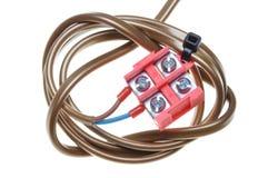 Elektrische Leitung mit Klemmenblock Stockbild